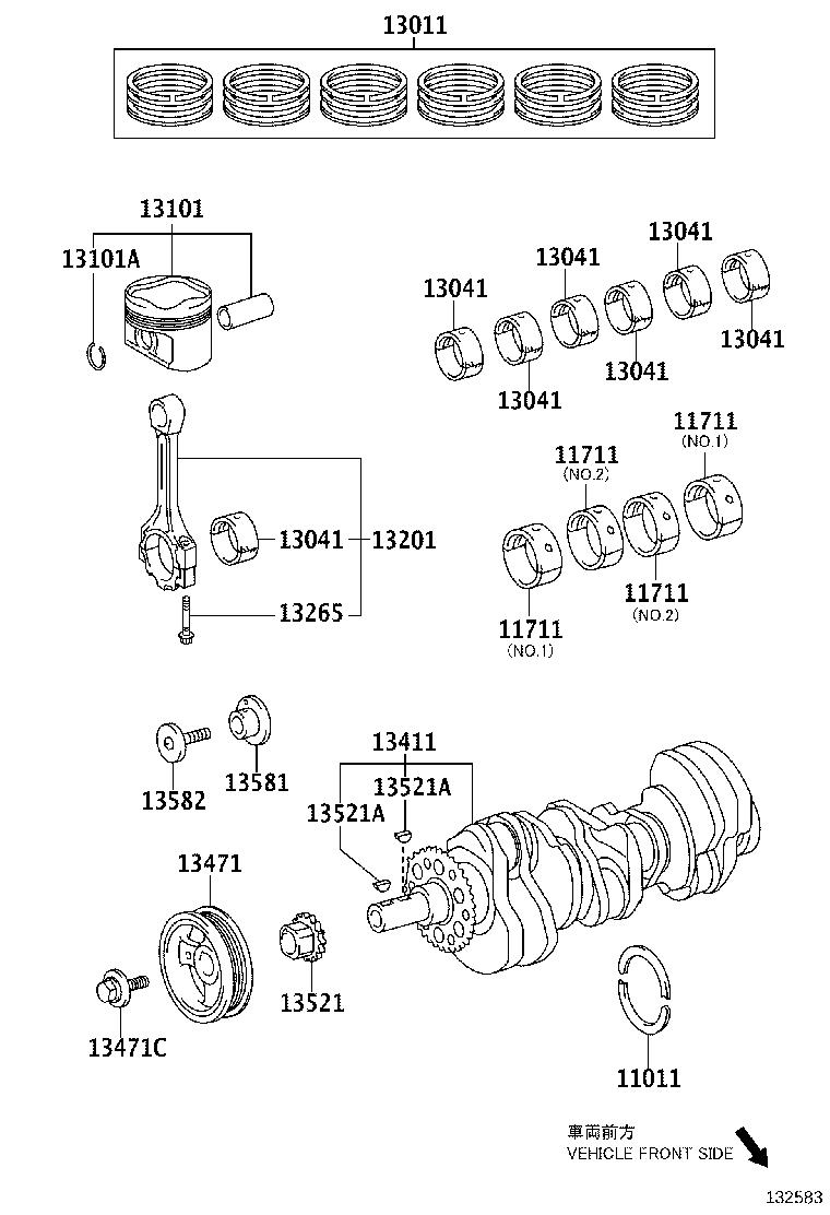 Lexus Es 350 Engine Crankshaft Main Bearing  Upper  Lower   Bearing Set  Crankshaft