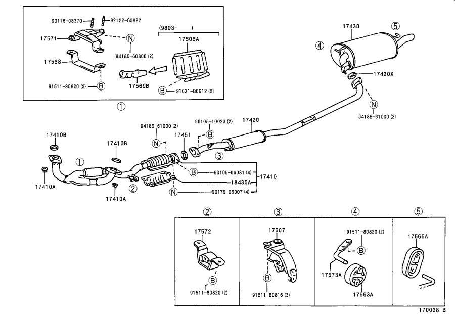 Lexus Es 300 Bracket  Exhaust Pipe Support  No  1  Engine  Brazil  Spec