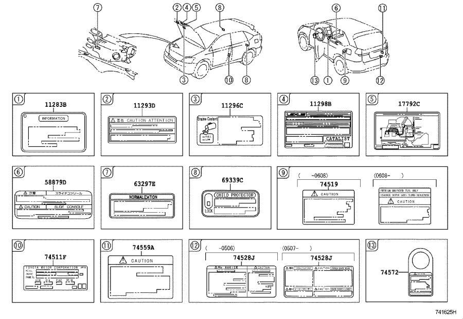 Lexus Rx 400h Label  Emission Control Information