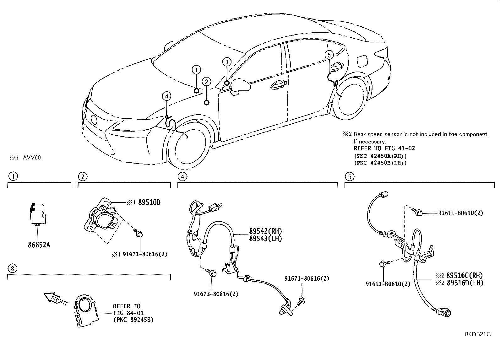 Lexus Es 300h Wire  Skid Control Sensor  Right  Vsc
