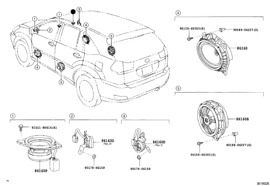 Lexus Rx 400h Speaker Assembly  Front No  2  Stereo