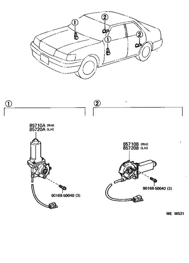 Lexus Ls 400 Motor Assembly  Power Window Regulator  Front